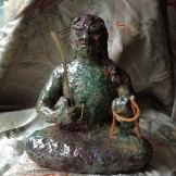 Fudo statue, raku fired September 2014